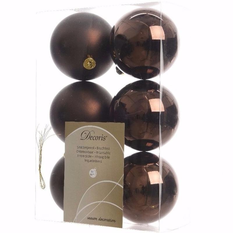 Chique Christmas kerstboom decoratie kerstballen bruin 6 stuks