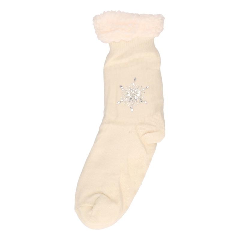 Dames gebreide anti-slip huissokken/slofsokken wit - maat 35-42
