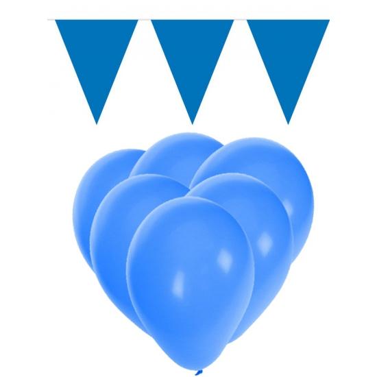 Decoratie blauw 15 ballonnen met 2 vlaggenlijnen
