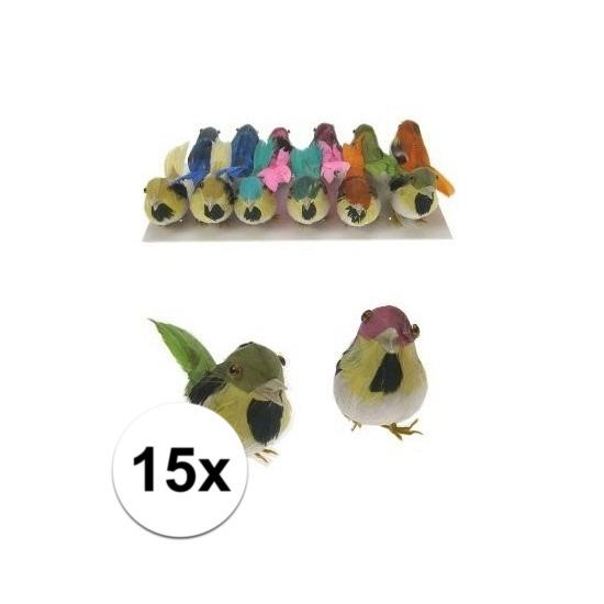 Decoratie vogels 15 stuks