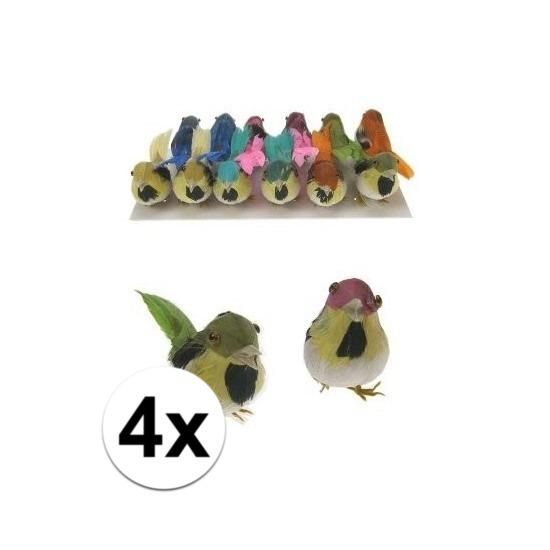 Decoratie vogels 4 stuks