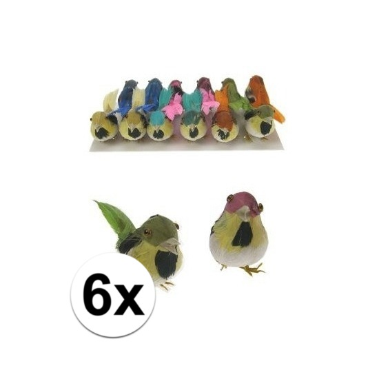 Decoratie vogels 6 stuks
