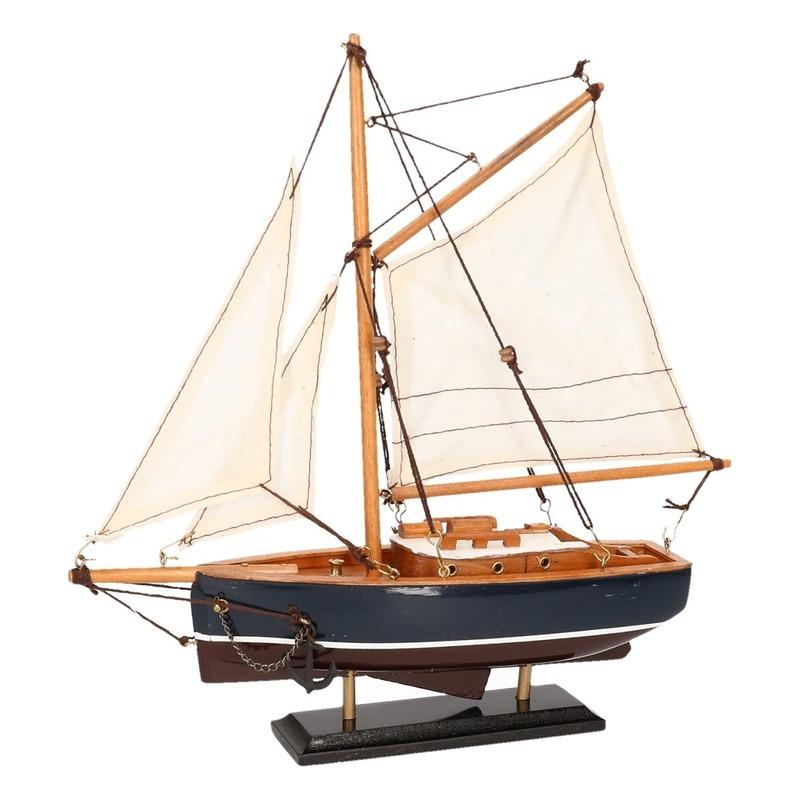 Decoratie zeilboot donkerblauw 23 cm