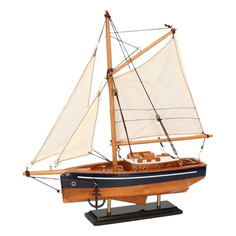 Decoratie zeilboot houtkleur met blauw 23 cm