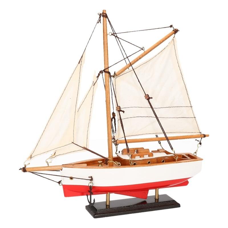 Decoratie zeilboot rood met wit 23 cm