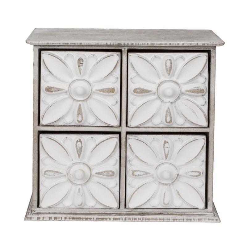 Decoratief opbergkastje met 4 lades 23 cm