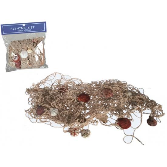 Decoratief visnet met schelpen