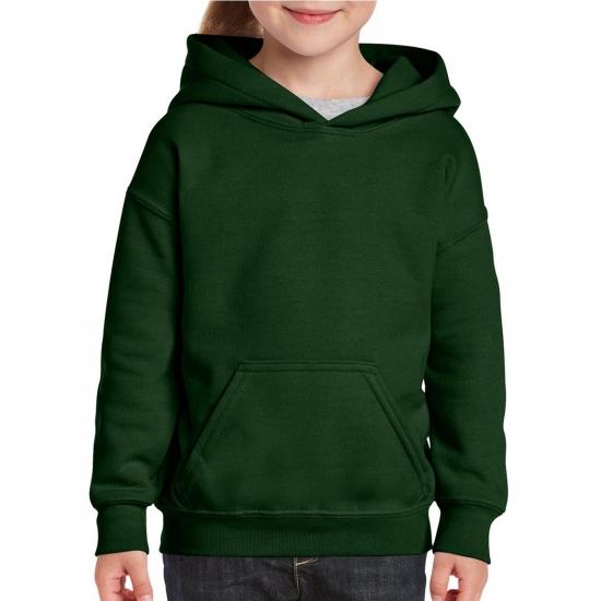 Donkergroene hooded meisjes sweater