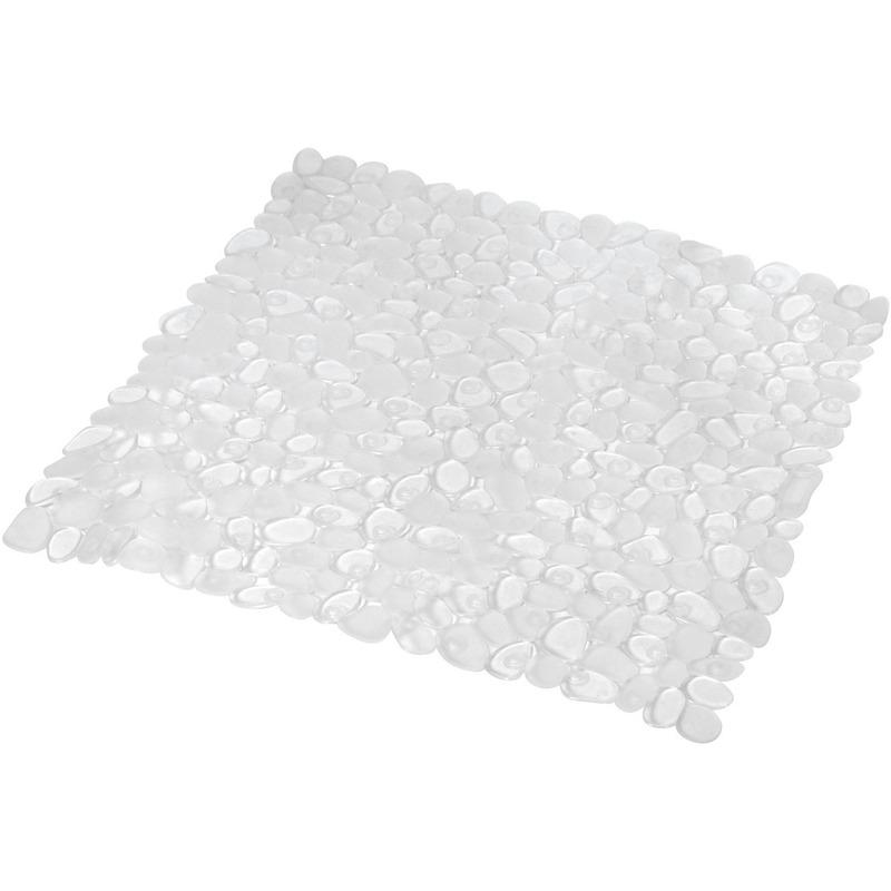 Douchecabine ruwe anti-slip mat doorzichtig 52 x 52 cm met stenen patroon