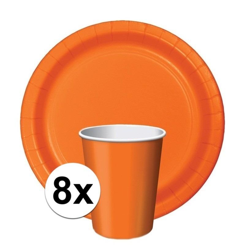 Feest decoratie pakket oranje Holland supporter-fan 8 bekertjes en bordjes