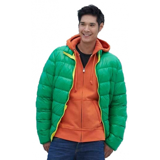 Fel groene jas met dons voor heren