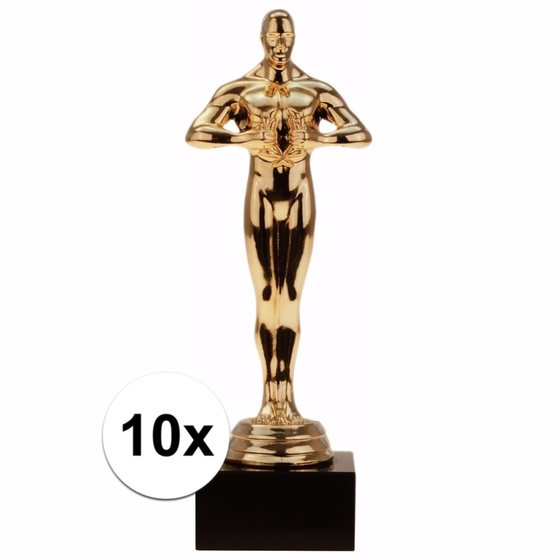 Film thema filmster prijs-beeldje-award goud 15 cm 10 stuks