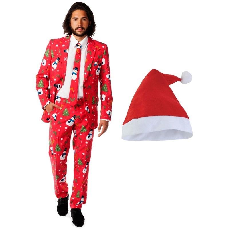 Foute Kerst Opposuits pakken-kostuums met Kerstmuts maat 50 (L) voor heren Christmaster