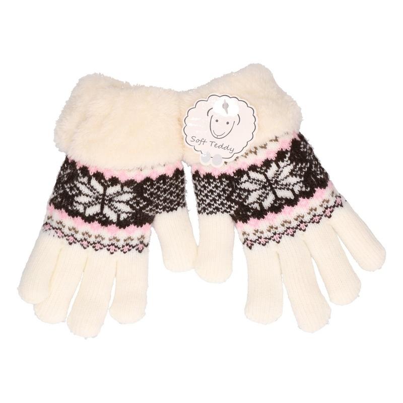 Gebreide handschoenen creme wit met sneeuwster en nep bont voor meisjes/kinderen