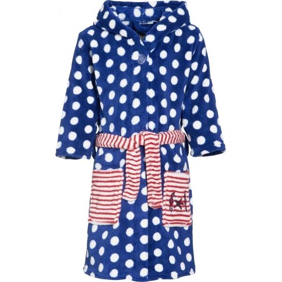 Gestipte blauwe badjas voor kinderen