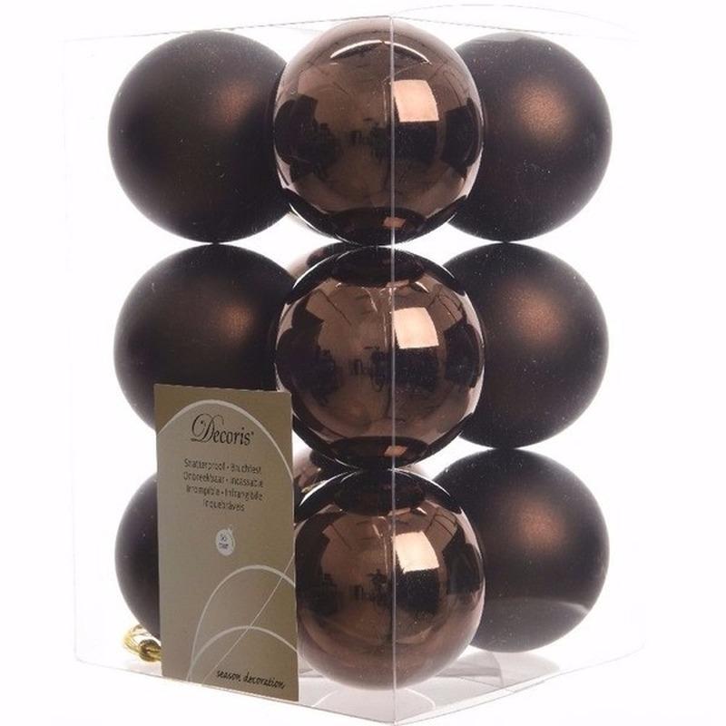 Glamour Christmas kerstboom decoratie kerstballen bruin 12 stuks