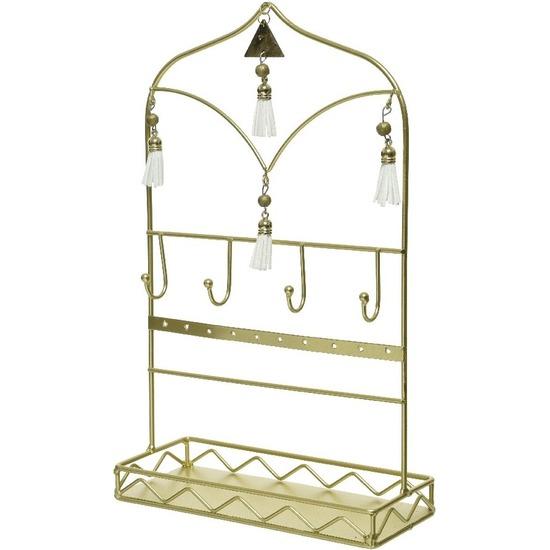 Gouden Arabisch raam sieraden opbergrek 33 cm Bohemian woonstijl