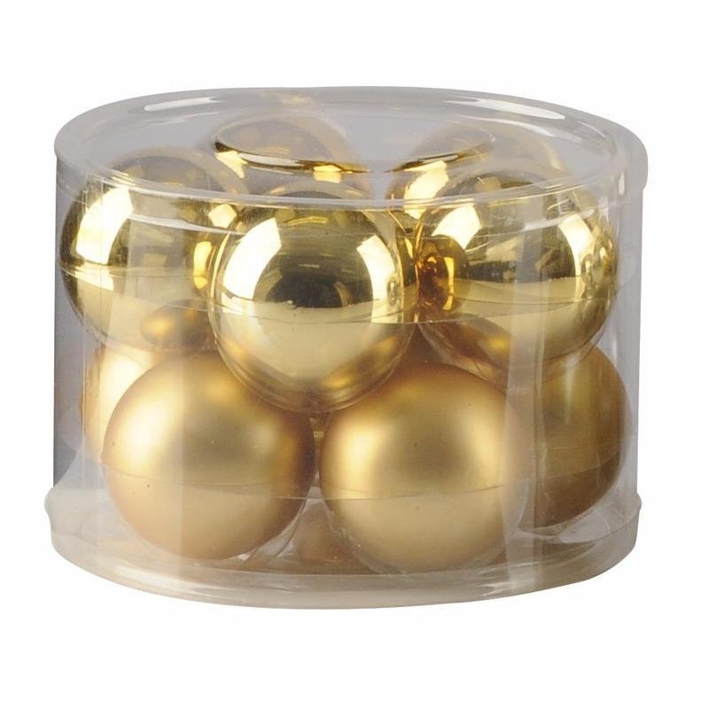Gouden glazen kerstballen 10 stuks