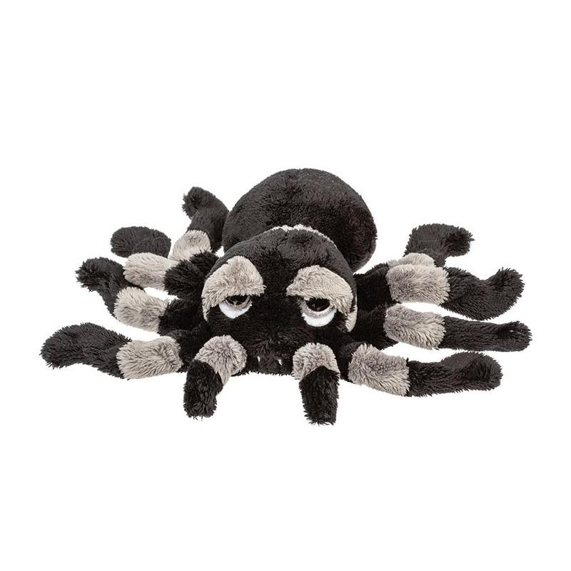 Grijs met zwarte spinnen knuffels 22 cm knuffeldieren
