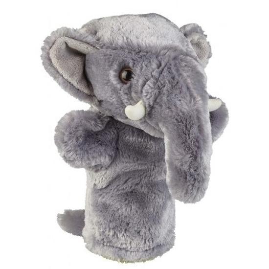 Grijze olifanten handpoppen knuffels 26 cm knuffeldieren