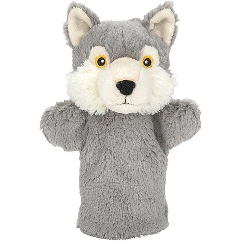 Grijze wolven handpoppen knuffels 24 cm knuffeldieren