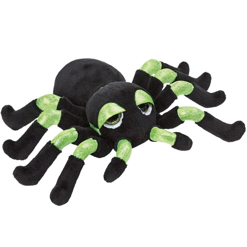 Groen met zwarte spinnen knuffels 13 cm knuffeldieren