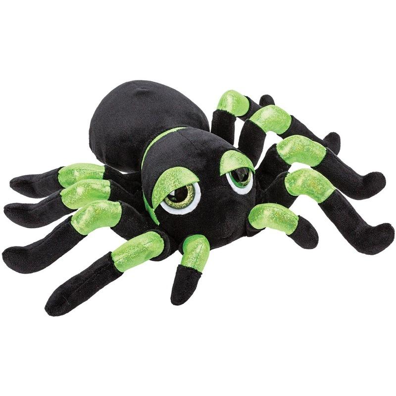 Groen met zwarte spinnen knuffels 22 cm knuffeldieren