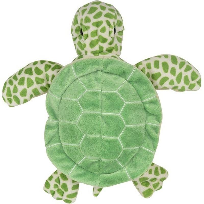 Groene schildpadden handpoppen knuffels 24 cm knuffeldieren