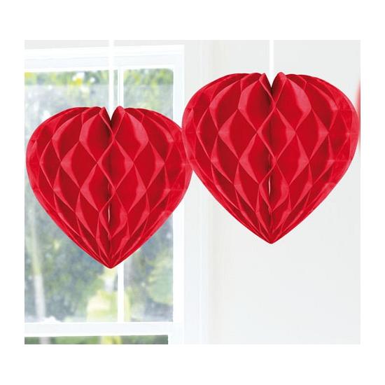 Hangdecoratie hartjes rood 30 cm