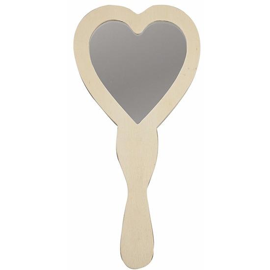 Houten hartvormige spiegels 24 cm