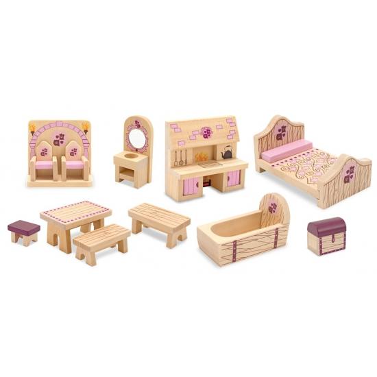 Houten kasteel poppenhuis meubeltjes Princess
