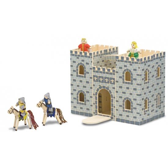 Houten kastelen met accessoires