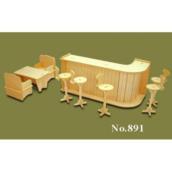 Houten poppenhuis meubels bar