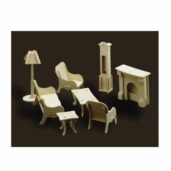 Houten poppenhuis meubels huiskamer