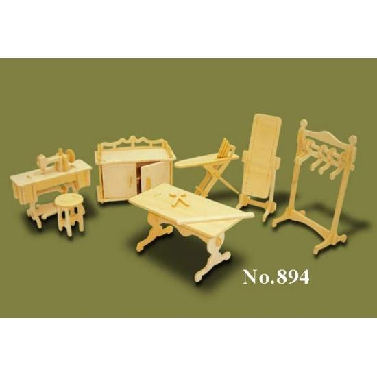 Houten poppenhuis meubels kledingatelier