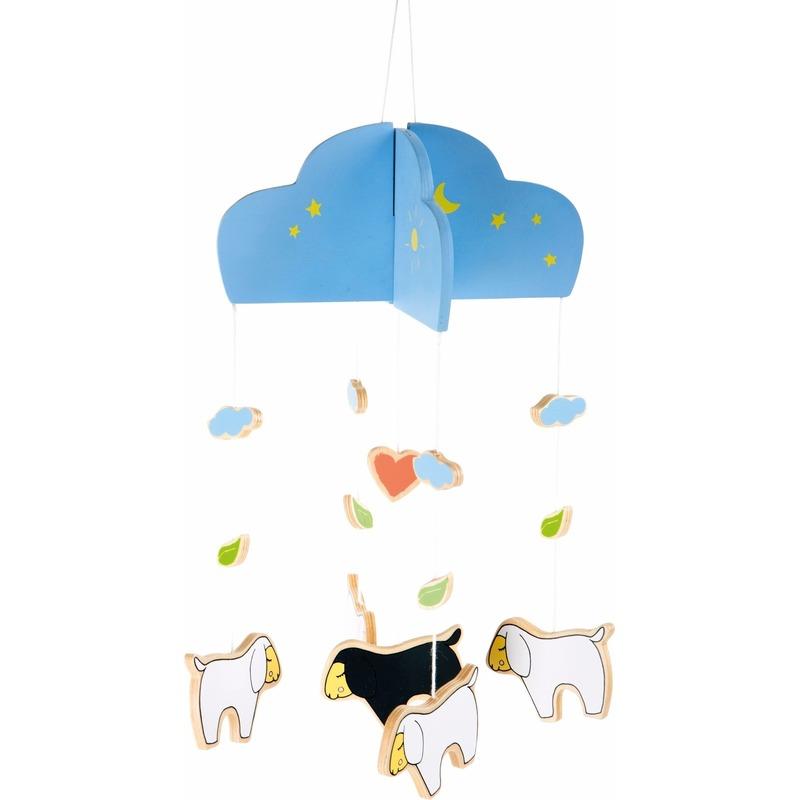 Houten schaapjes-lammetjes mobiel voor in de kinder-babykamer