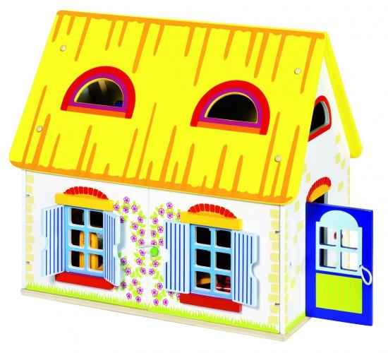 Houten speel poppenhuis 39,5 x 24,5 x 35 cm