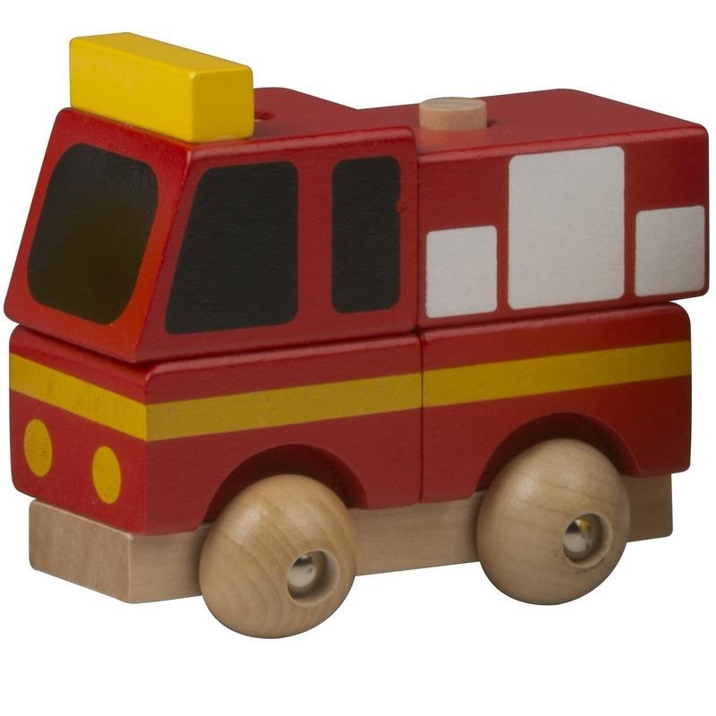 Houten speelgoed brandweer rood