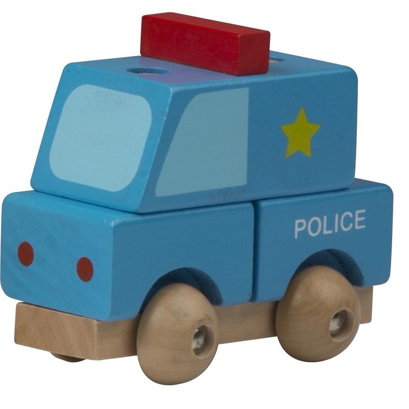 Houten speelgoed politie wagen blauw