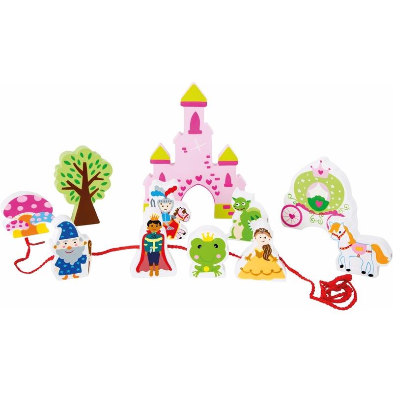 Houten speelgoed roze kasteel voor meisjes
