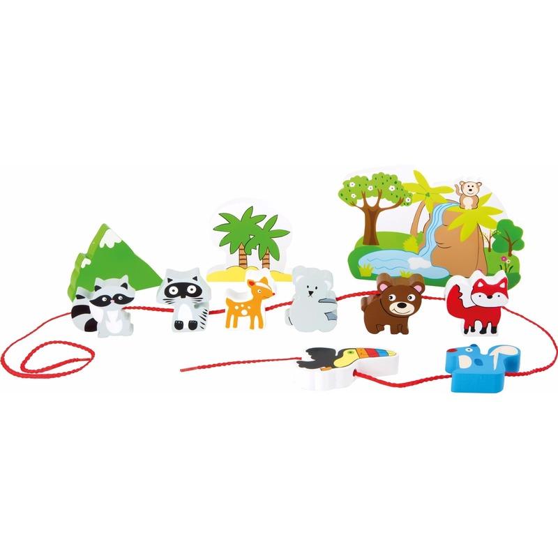 Houten speelgoed safari met dieren