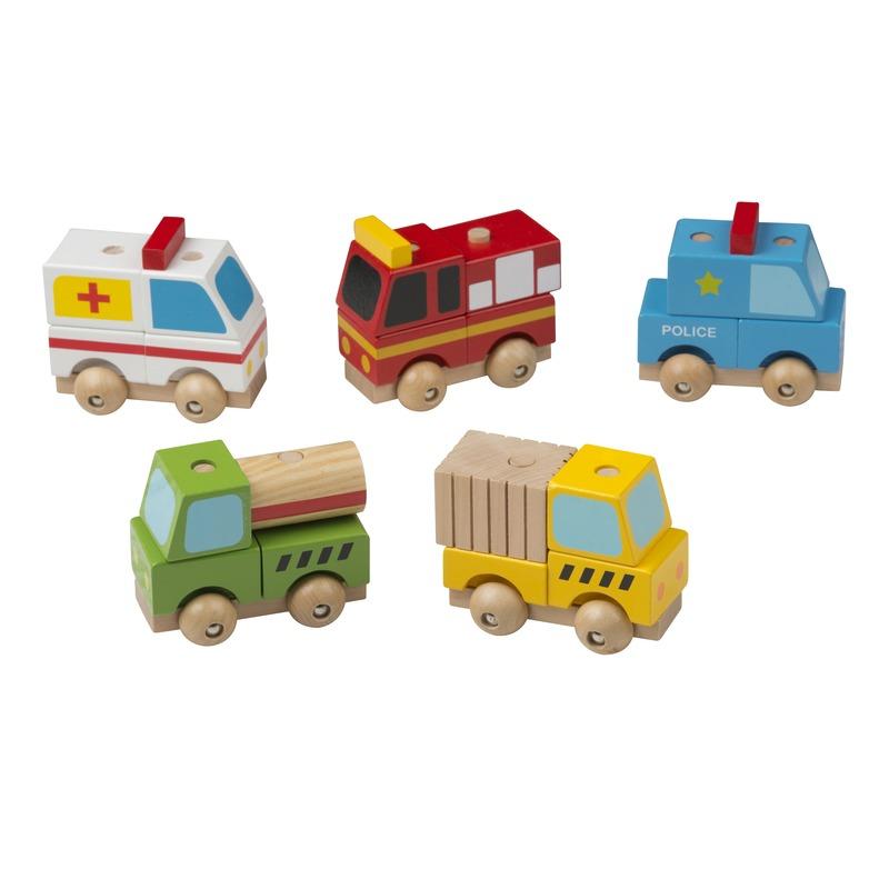 Houten speelgoed vrachtwagen geel