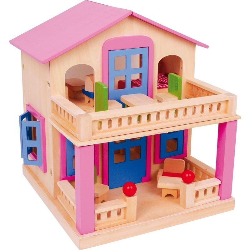Houten speelhuis voor poppen