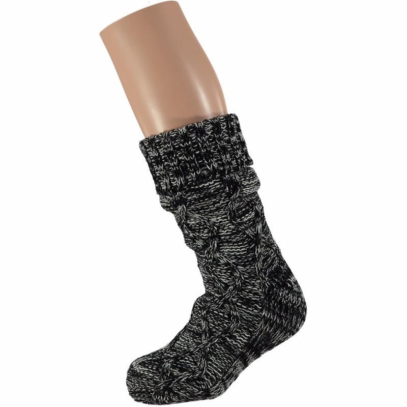 Huis/bank dames kabel sokken zwart
