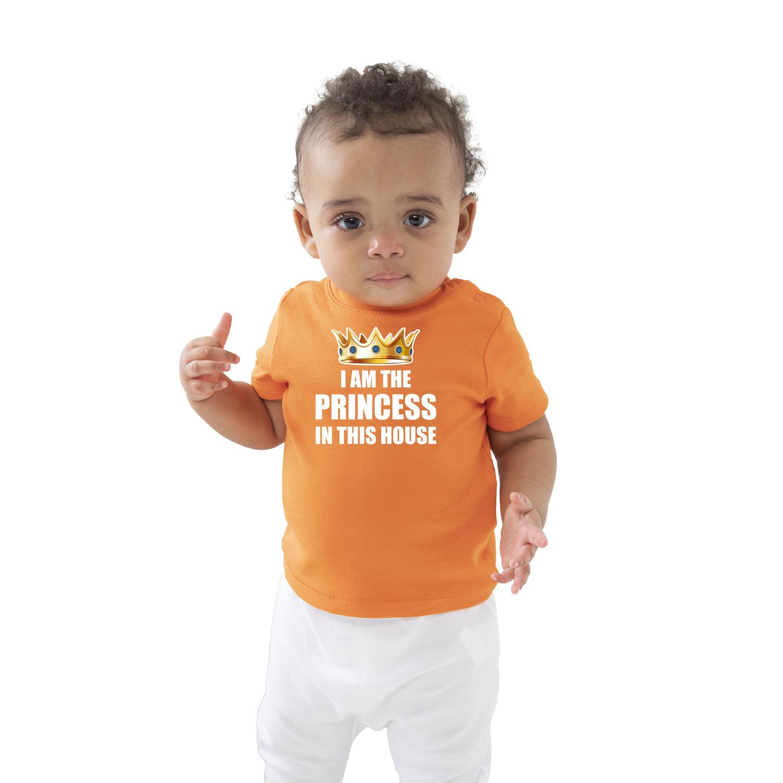 I am the princess in this house t-shirt oranje Koningsdag baby-peuter voor meisjes