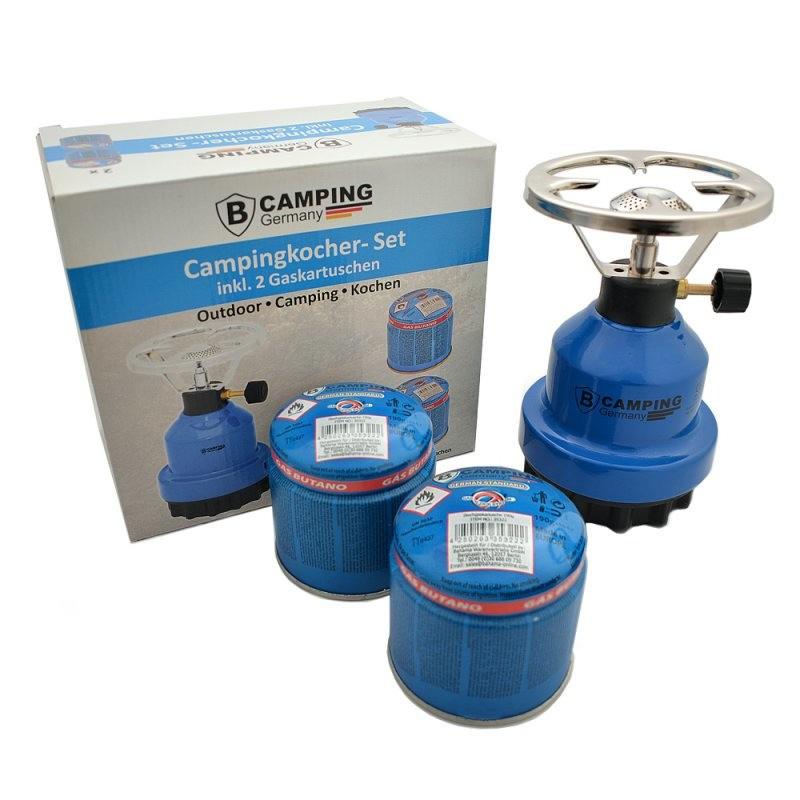 Kampeer gasstel-kookstel inclusief 2 gaspatronen 190 gram