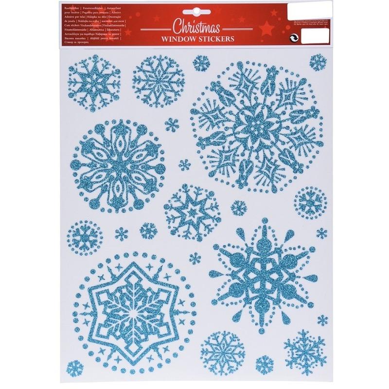 Kerst decoratie stickers blauwe glitter ijssterren plaatjes 30 x 40 cm
