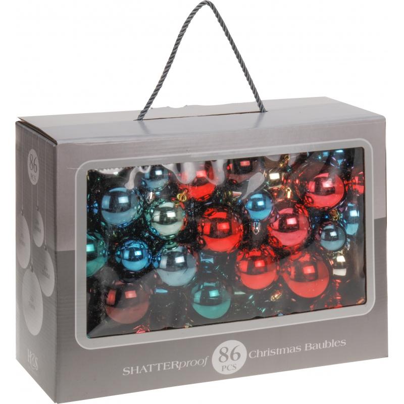 Kerstballenset 86 delig bonte kleuren