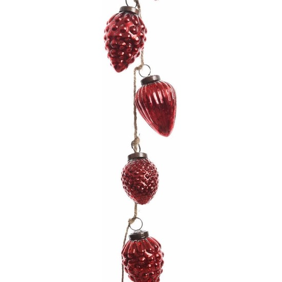 Kerstboomdecoratie dennenappel kerstballen slinger rood 120 cm
