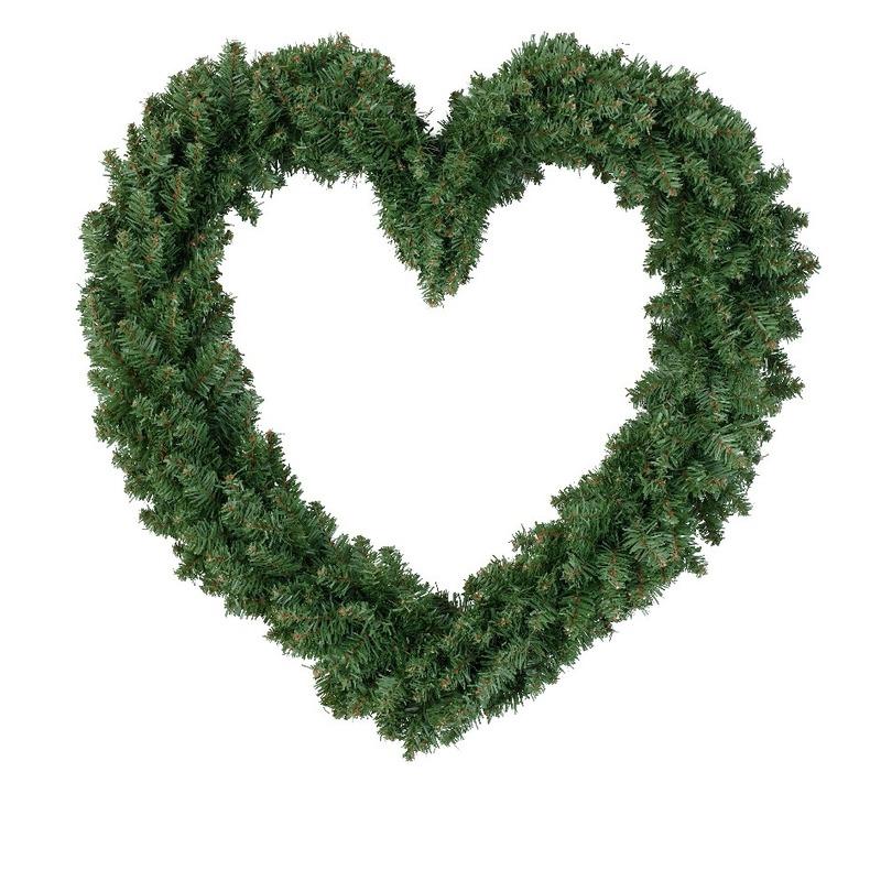 Kerstdecoratie kerstkrans hart groen 50 cm
